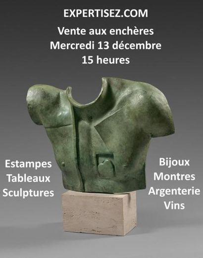 Tableaux, sculptures, estampes, bijoux, argenterie, vins
