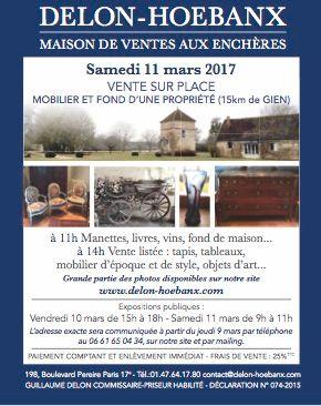 Vente sur place : Mobilier d'une propriété à Ouzouer-sur-Trézée (Le Grand Chaloy)