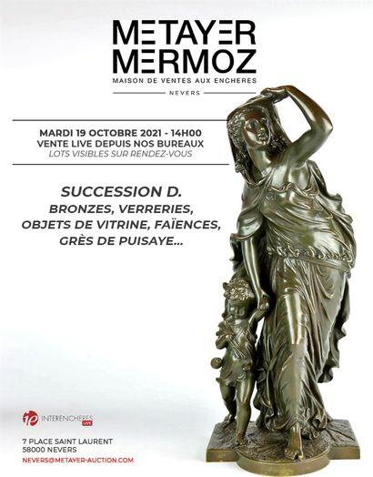 SUCCESSION D. : bronzes, verreries, faïences, grès de Puisaye, etc.