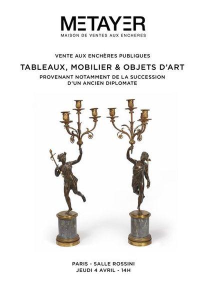 Tableaux mobilier et objets d'art. Provenant notamment de la succession d'un ancien diplomate