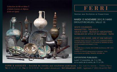 Collection d'objets Iranien et Afghan - vente courante de mobilier et objets d'art