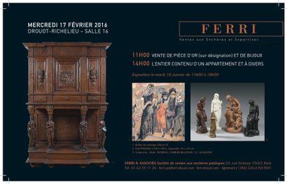 Or, Tableaux, mobilier et objets d'art<br> vente à 11h00 et 14h00