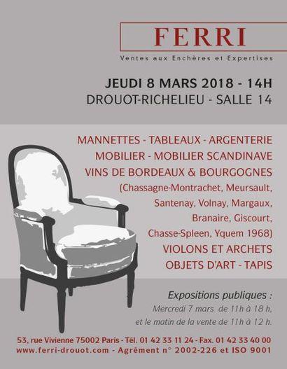 Vente classique MANNETTES - TABLEAUX - ARGENTERIE - MOBILIER - MOBILIER SCANDINAVE - VINS DE BORDEAUX & BOURGOGNES - VIOLONS ET ARCHETS - OBJETS D'ART - TAPIS