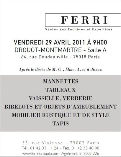 Vente à Drouot Montmartre - Salle A - Après le décès de M. G., Mme. A. et à divers