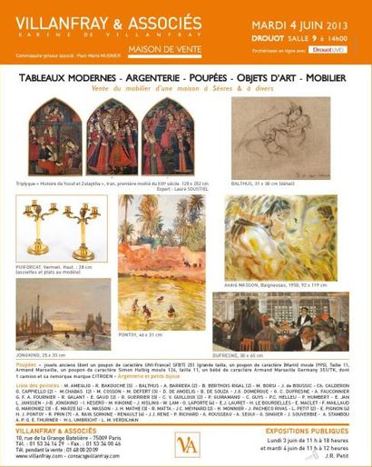 TABLEAUX ANCIENS et MODERNES, ARGENTERIE, BIJOUX, ARCHEOLOGIE, ART PERSE, OBJETS d'ART XVII et XVIIIème, MOBILIER
