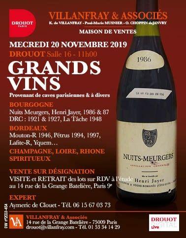 GRANDS VINS dont Bourgogne Romanée Conti, Henri Jayer... Bordeaux, Champagnes, Armagnac....
