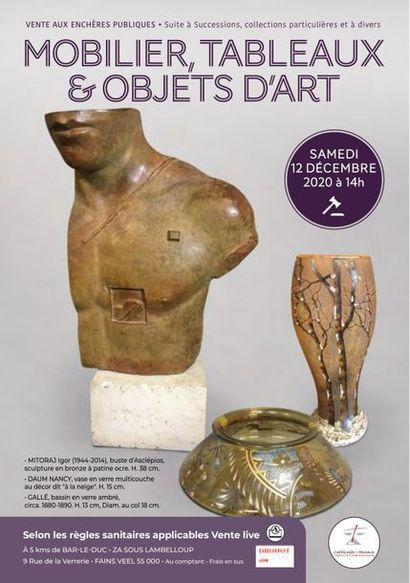 Tableaux, mobilier et objets d'art, verreries, bagages et accessoires de mode, sculptures, bronzes