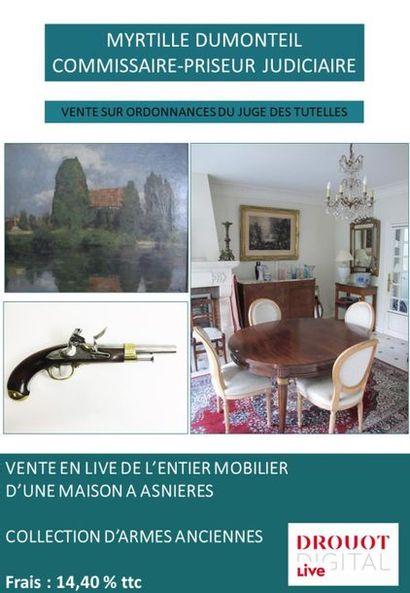 VENTE JUDICIAIRE DE L'ENTIER MOBILIER D'UNE MAISON - COLLECTION D'ARMES ANCIENNES