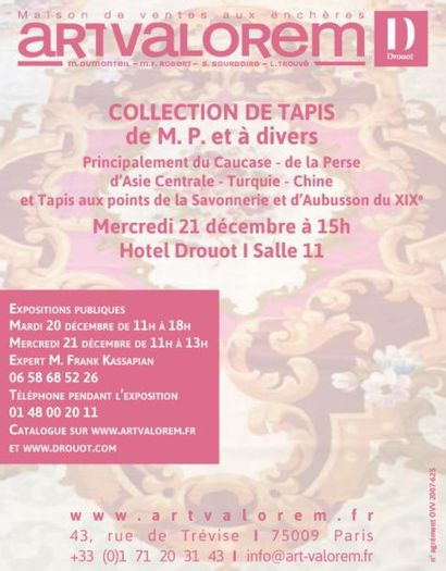 COLLECTION DE TAPIS DE M.P. et à divers