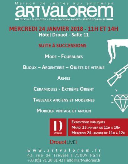 11h Mode -  Fourrures - Bijoux 14h Armes - Argenterie - Objets de vitrine - Tableaux anciens et modernes - Céramiques - Extrème Orient - Mobilier Vintage - Mobilier ancien