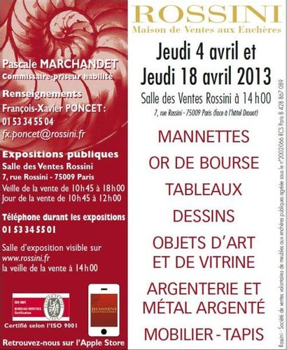 Mannettes - Tableaux - Dessins - Objets d'Art et de Vitrine - Argenterie et Métal Argenté - Mobilier - Tapis