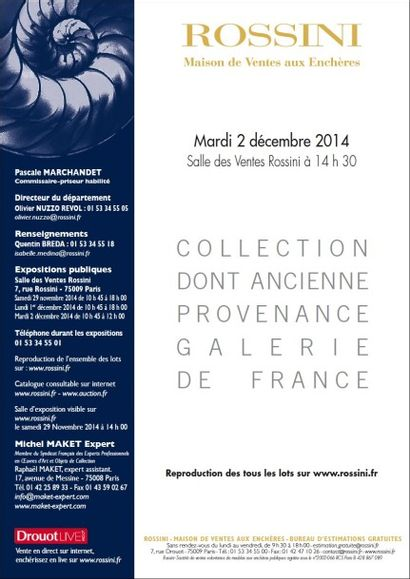 Collection dont ancienne provenance Galerie de France