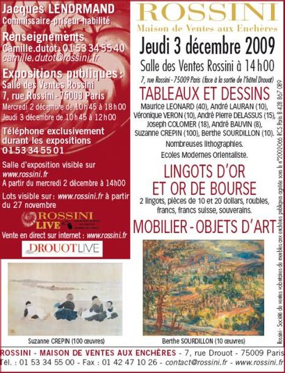 TABLEAUX ET DESSINS, LINGOS D'OR ET OR DE BOURSE, MOBILIER-OBJETS D'ART