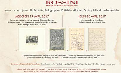 Bibliophilie, Autographes, Philatélie, Affiches, Scripophilie et Cartes Postales