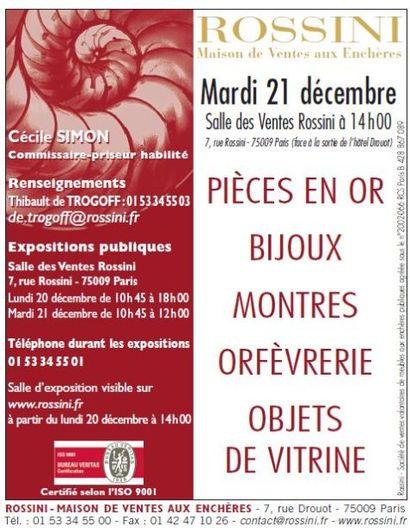 Bijoux - Montres - Pièces en or - Orfèvrerie et Objets de vitrine