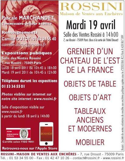 Grenier d'un château de l'est de la France  - Objets de table, objets d'art, tableaux anciens et modernes, mobilier
