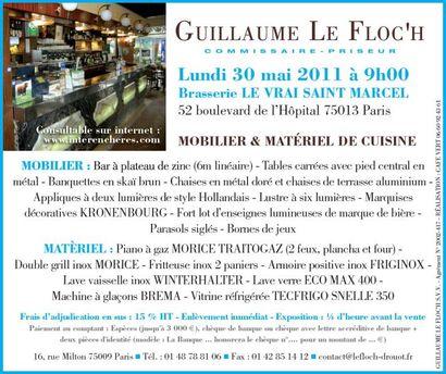 Vente sur place - 75013 Paris - MOBILIER & MATÉRIEL DE CUISINE