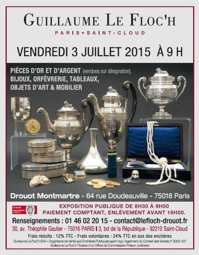 Drouot Montmartre - Pièces d'or et d'argent (vendues sur désignation), Bijoux, Orfèvrerie, Tableaux, Objets d'art, Objets de vitrine,  Mobilier & Tapis