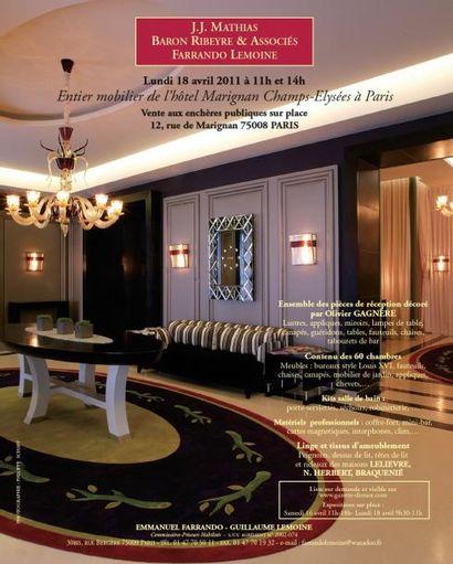 Entier mobilier de l'hôtel Marignan Champs-Elysées à Paris