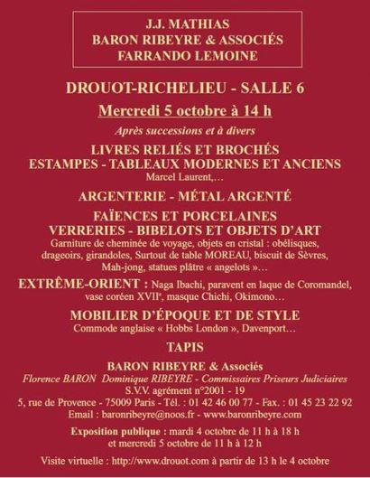 Meubles et objets d'art, Estampes, Tableaux...Vente à 11h15 et 14h00