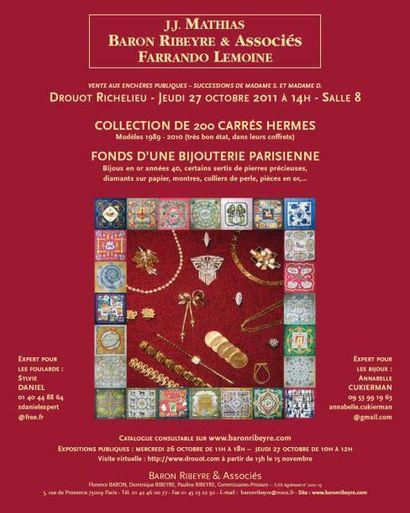 COLLECTION DE 200 CARRES HERMES et FONDS D'UNE BIJOUTERIE PARISIENNE
