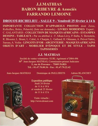 Meubles et objets d'art, appareils photos,...