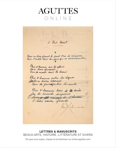 ONLINE ONLY : LETTRES & MANUSCRITS AUTOGRAPHES (BEAUX-ARTS, HISTOIRE, LITTÉRATURE ET DIVERS)
