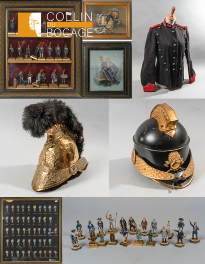 Collection of Mister JP LEMIRE: helmets and firemen's equipment, militaria, weapons, toy soldiers and tin plates.