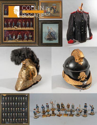 Collection de Monsieur JP LEMIRE: casques et équipements de pompiers, militaria, armes, soldats de plomb et plats d'étain.