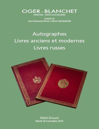 livres russes, livres anciens et modernes, autographes, carnets de dessins