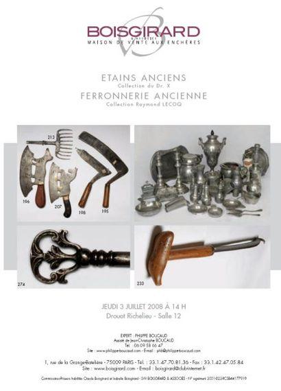 ETAINS ANCIENS, FERRONNERIE ANCIENNE