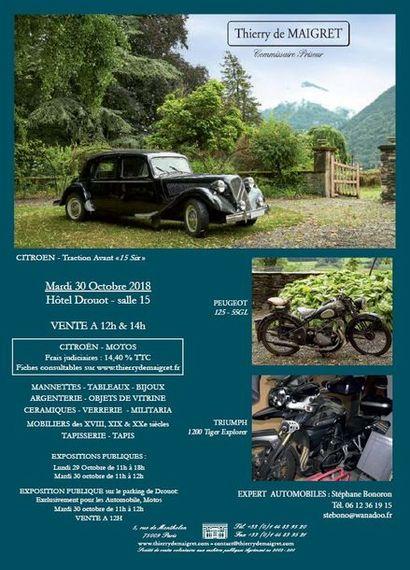 VENTE AUTOMOBILE & MOTO  -  VENTE CLASSIQUE : Tableaux, Mobilier, Objet d'art & MILITARIA
