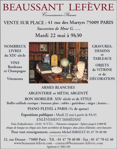 VENTE SUR PLACE : 41 rue des Martyrs 75009 PARIS