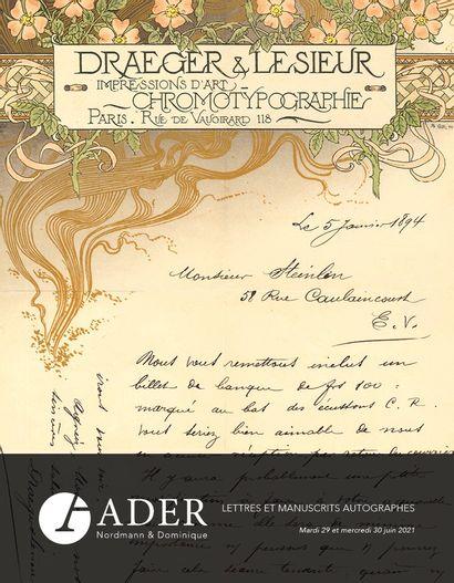 Lettres & Manuscrits Autographes - Lots 289 à 494