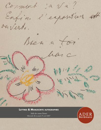 Lettres & manuscrits autographes (lots 308 à 602)