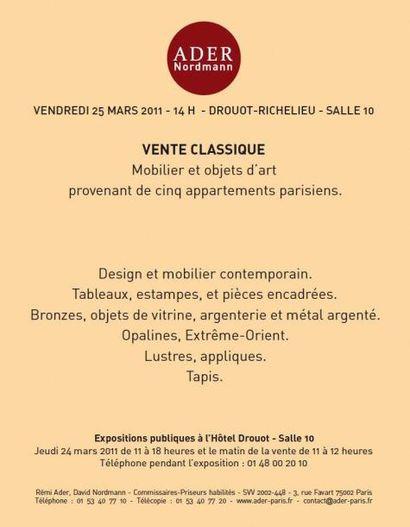 Mobilier et objets d'art provenant de cinq appartements parisiens...