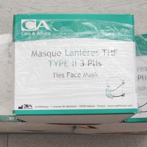 78 CARE & ADVICE Lot de 250 masques chirurgicaux à lanières THF type II 3 plis t…