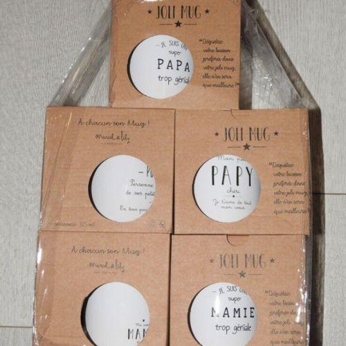 19 MARCEL & LILY Lot de 5 mugs surprises en céramique 325ml avec inscription Pro…