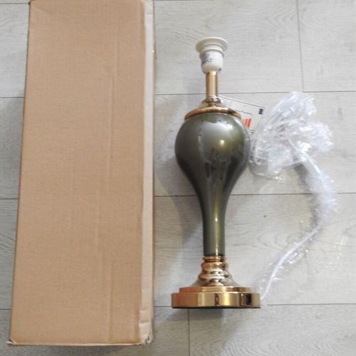 33 DENZZO Lampe en Métal 107278 H45 cm colori vert kaki pied doré (manque abat j…