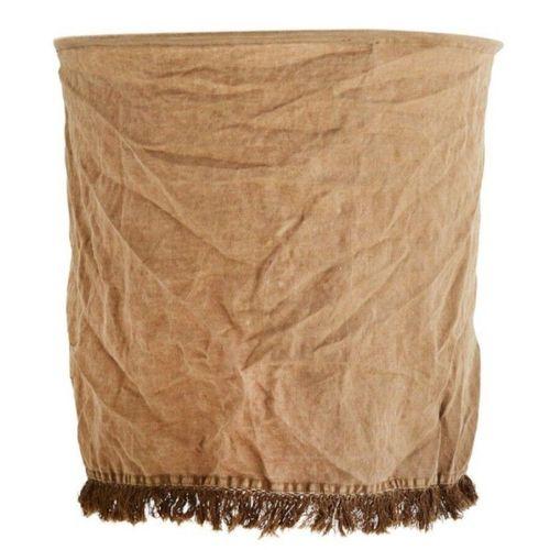 36 MADAM STOLTZ Lot de 2 abat jours tissu lin franges délavé marron clair D 45 x…