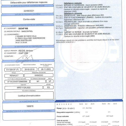 KANGOO1.2 i 16V 75cv VP RENAULT KANGOO1.2 i 16V 75cv Carrosserie : CI N° série t…