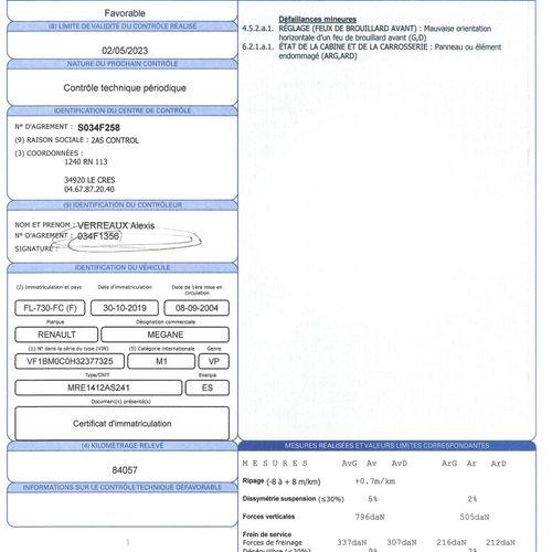 MEGANE 2 1.6i 16V 115ch VP RENAULT MEGANE 2 1.6i 16V 115ch 1.6 16V Carrosserie :…