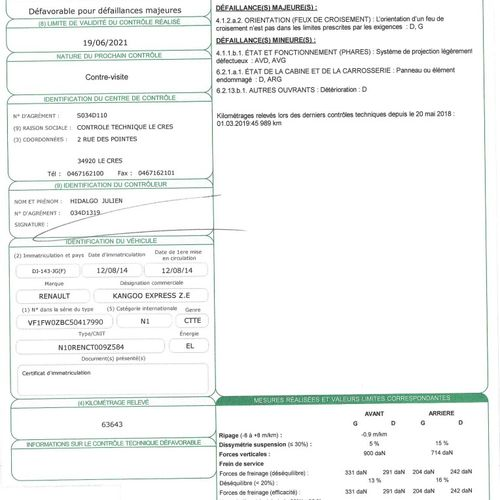 KANGOO Z.E. Ph2 60cv BVA CTTE RENAULT KANGOO Z.E. Ph2 60cv BVA Z.E. Carrosserie …