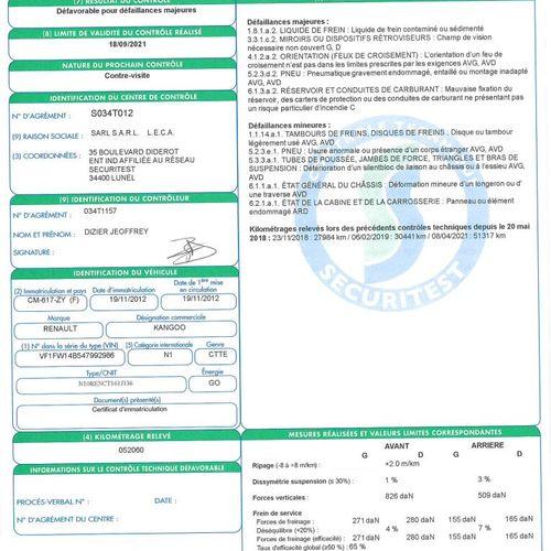 KANGOO 1.5 DCI 75ch CTTE RENAULT KANGOO 1.5 DCI 75ch GD DCI Carrosserie : FOURGO…