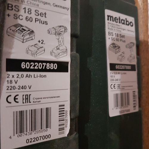 Deux boîtes à outils METABO BS 18 Set + SC60 plus comprenant:perceuse visseuse,…