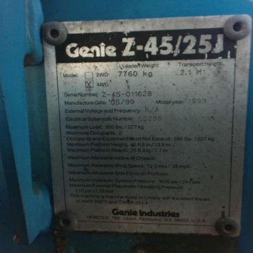 LEV GENIE NACELLE ARTICULAE DIESEL Z45/25 16M AN 1999 5242Kms Energy : GO Color …