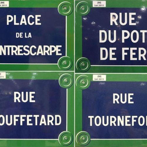 4 PLAQUES EMAILLEES DE RUE: RUE MOUFFETARD, PLACE DE LA CONTRE ESCAPE, RUE TOURN…