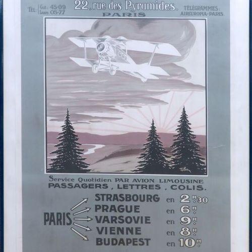 AFFICHE DE LA COMPAGNIE FRANCO ROUMAINE DE NAVIGATION AERIENNE, REEDITION DE 198…