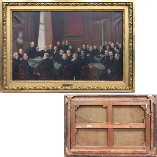 URBAIN BOURGEOIS (1842 1911) HUILE SUR TOILE REPRESENTANT L'ACADEMIE DE MEDECINE…