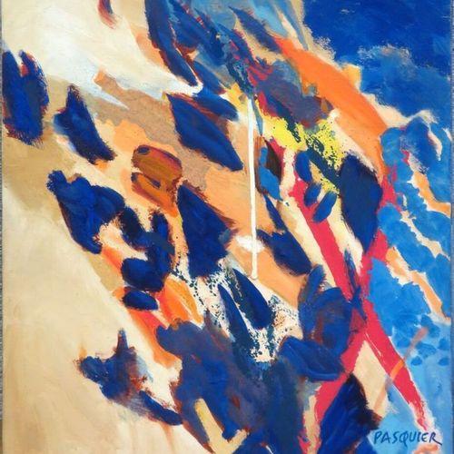"""NOEL PASQUIER (NE EN 1941) """"BLUE LEAVES"""", HUILE SUR TOILE SIGNE EN BAS A DROITE,…"""